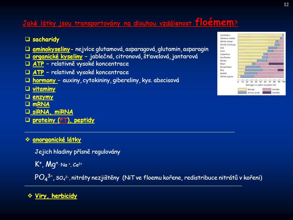 12 Jaké látky jsou transportovány na dlouhou vzdálenost floémem sacharidy. aminokyseliny- nejvíce glutamová, asparagová, glutamin, asparagin.