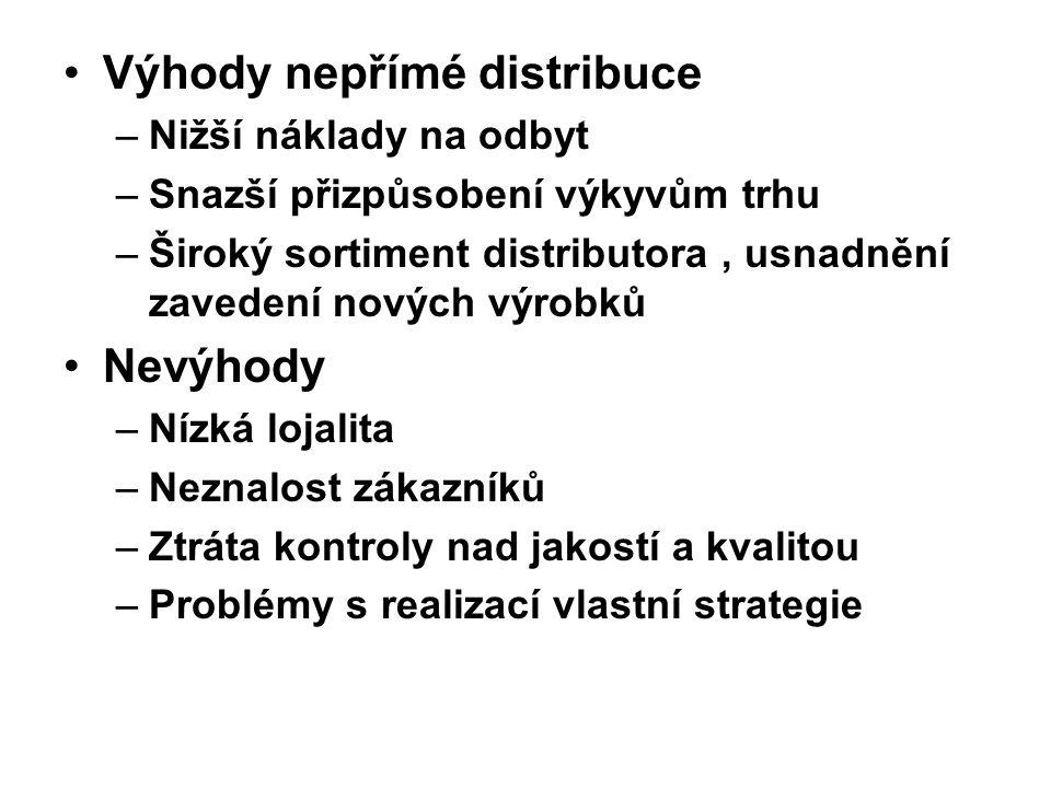 Výhody nepřímé distribuce