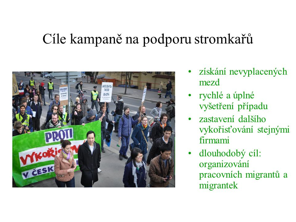 Cíle kampaně na podporu stromkařů
