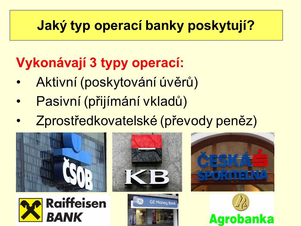 Jaký typ operací banky poskytují