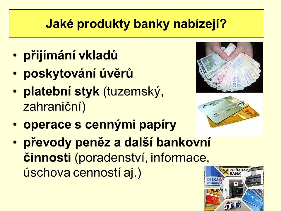 Jaké produkty banky nabízejí