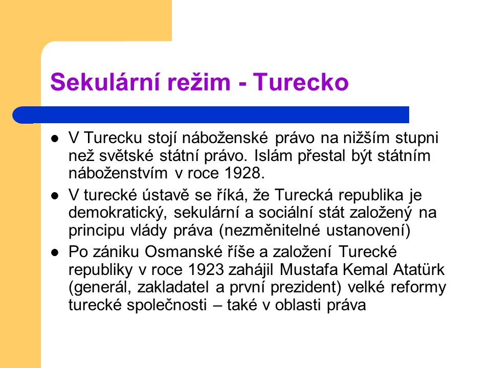Sekulární režim - Turecko