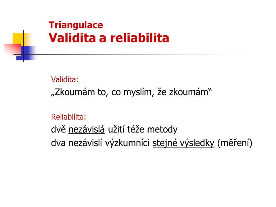 Triangulace Validita a reliabilita