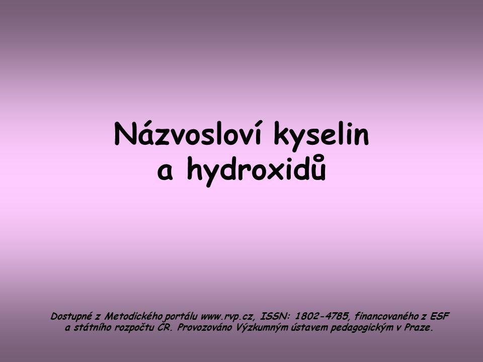 Názvosloví kyselin a hydroxidů
