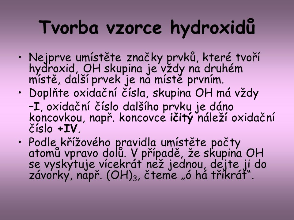 Tvorba vzorce hydroxidů