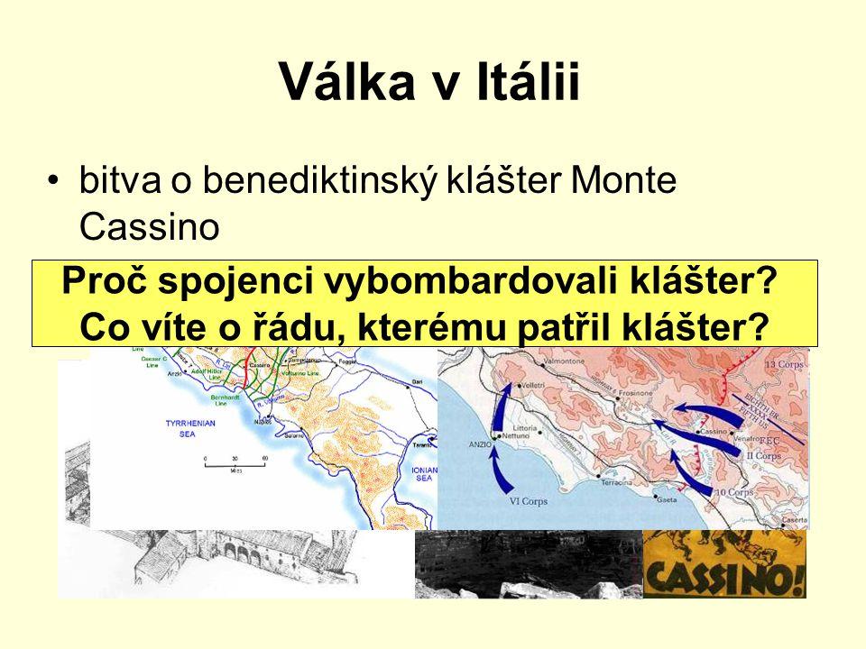 Válka v Itálii bitva o benediktinský klášter Monte Cassino