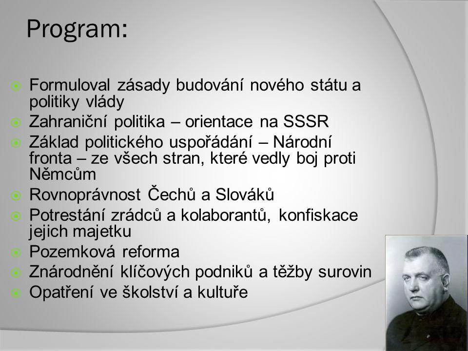 Program: Formuloval zásady budování nového státu a politiky vlády