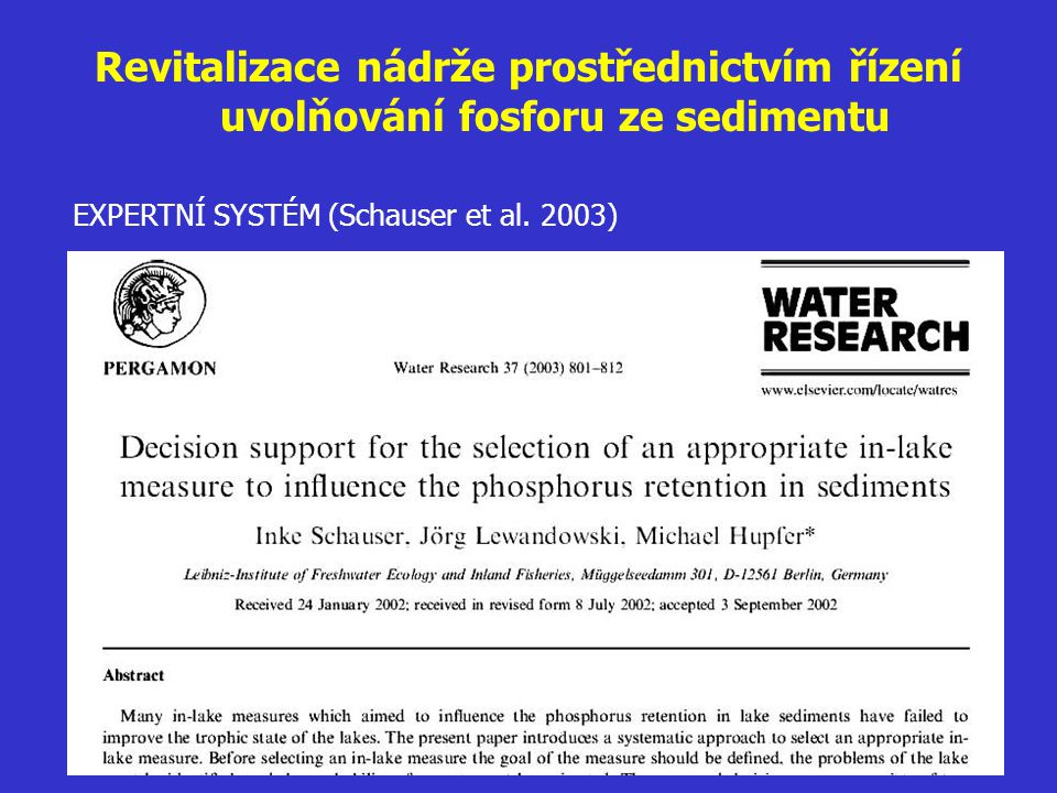 Revitalizace nádrže prostřednictvím řízení uvolňování fosforu ze sedimentu