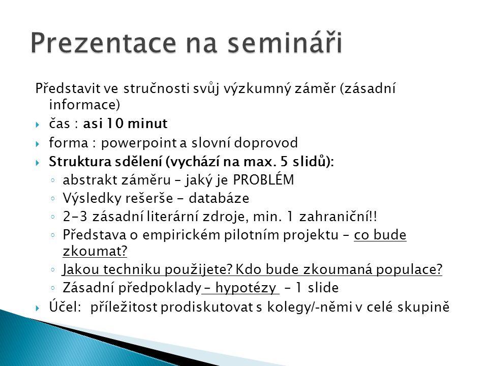 Prezentace na semináři