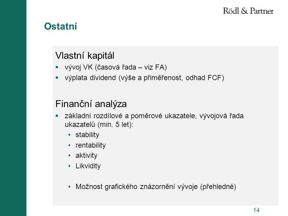 Ostatní Vlastní kapitál Finanční analýza
