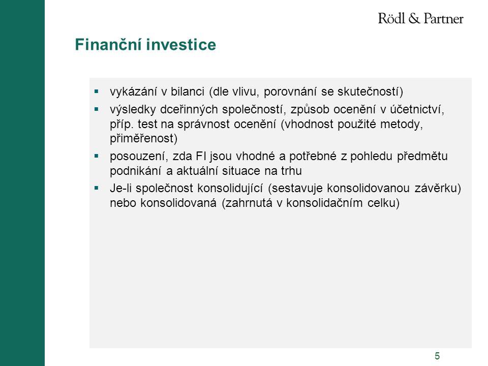 Finanční investice vykázání v bilanci (dle vlivu, porovnání se skutečností)