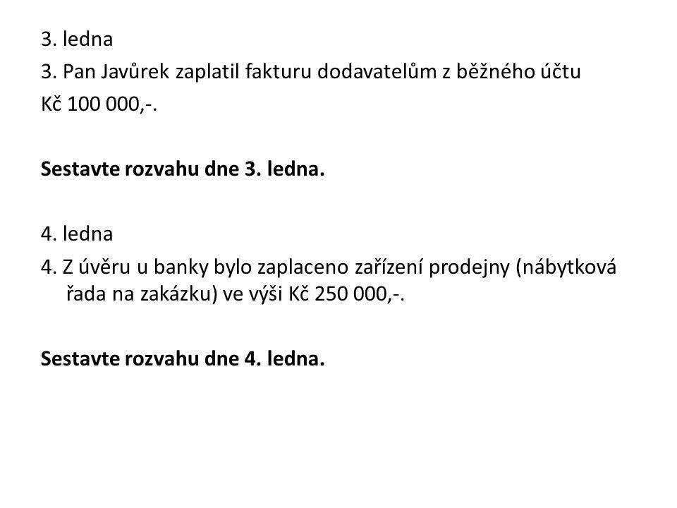 3. ledna 3. Pan Javůrek zaplatil fakturu dodavatelům z běžného účtu Kč 100 000,-.