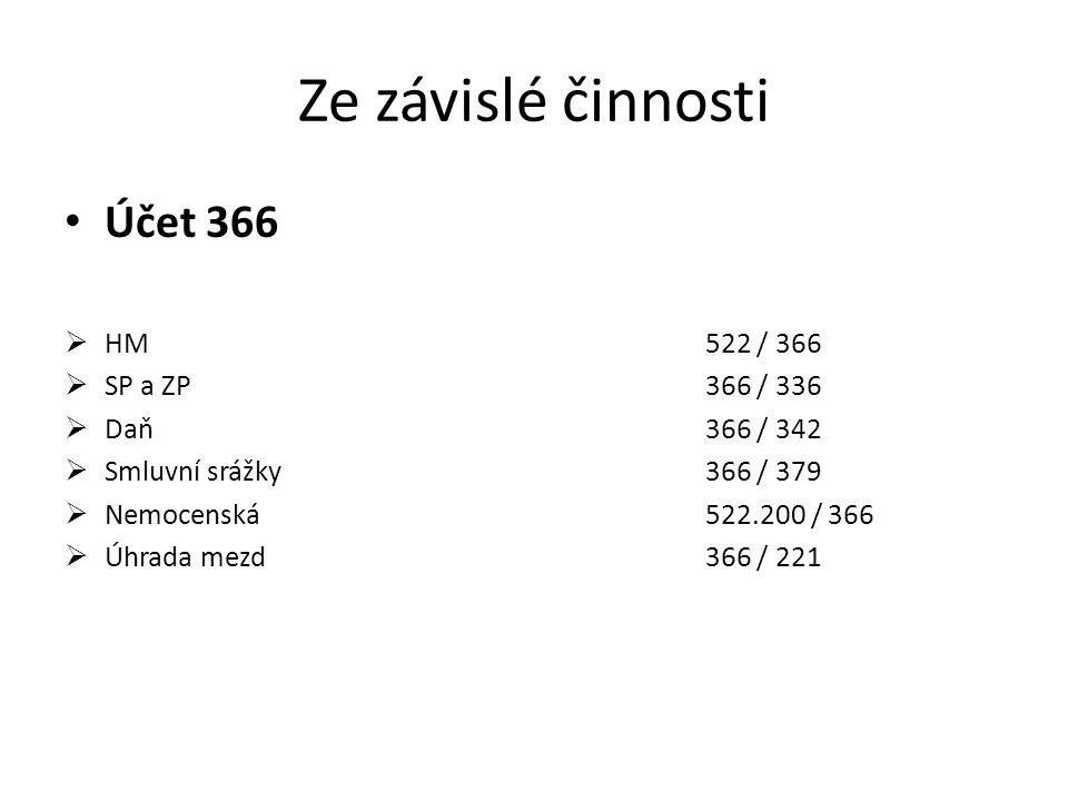 Ze závislé činnosti Účet 366 HM 522 / 366 SP a ZP 366 / 336