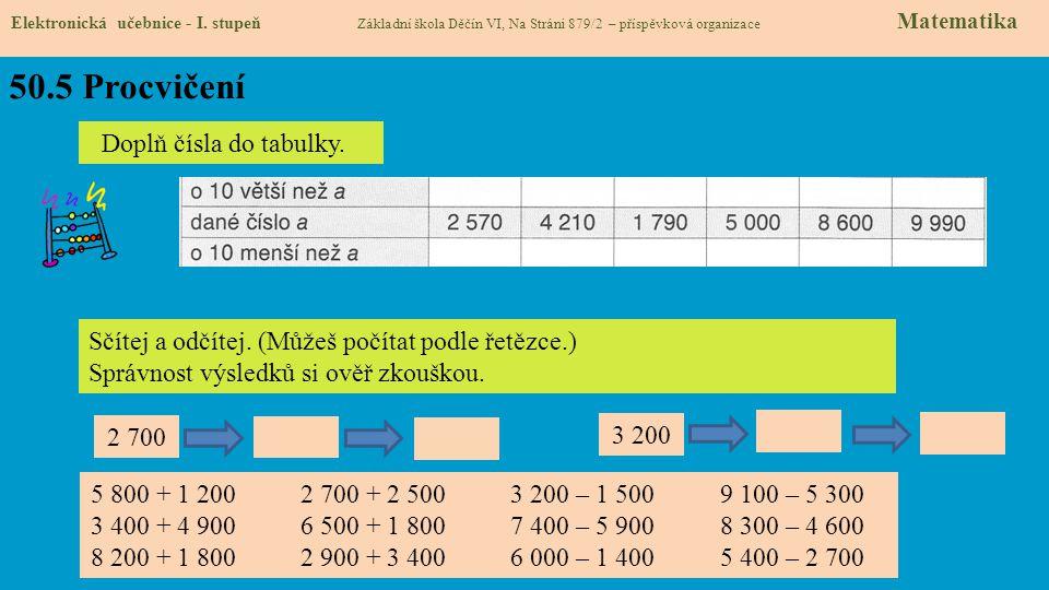50.5 Procvičení Doplň čísla do tabulky.