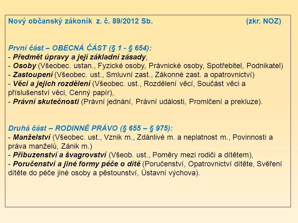 Nový občanský zákoník z. č. 89/2012 Sb. (zkr. NOZ)
