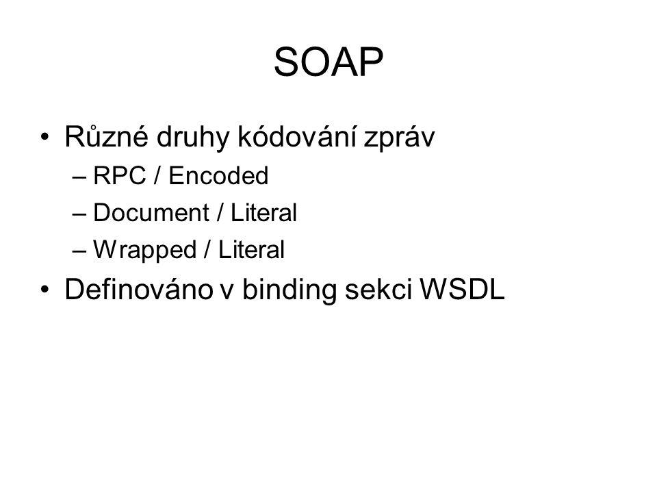 SOAP Různé druhy kódování zpráv Definováno v binding sekci WSDL