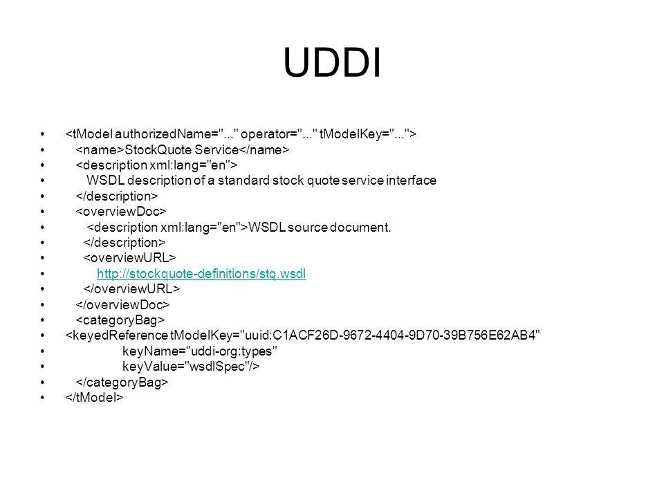 UDDI <tModel authorizedName= ... operator= ... tModelKey= ... > <name>StockQuote Service</name>