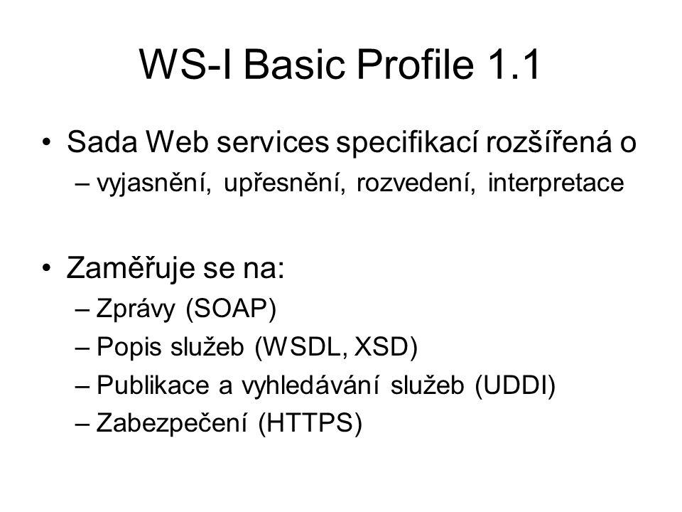 WS-I Basic Profile 1.1 Sada Web services specifikací rozšířená o