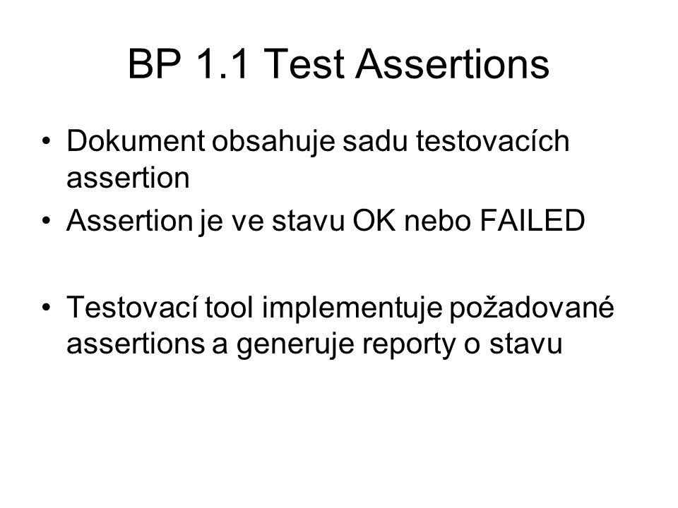 BP 1.1 Test Assertions Dokument obsahuje sadu testovacích assertion