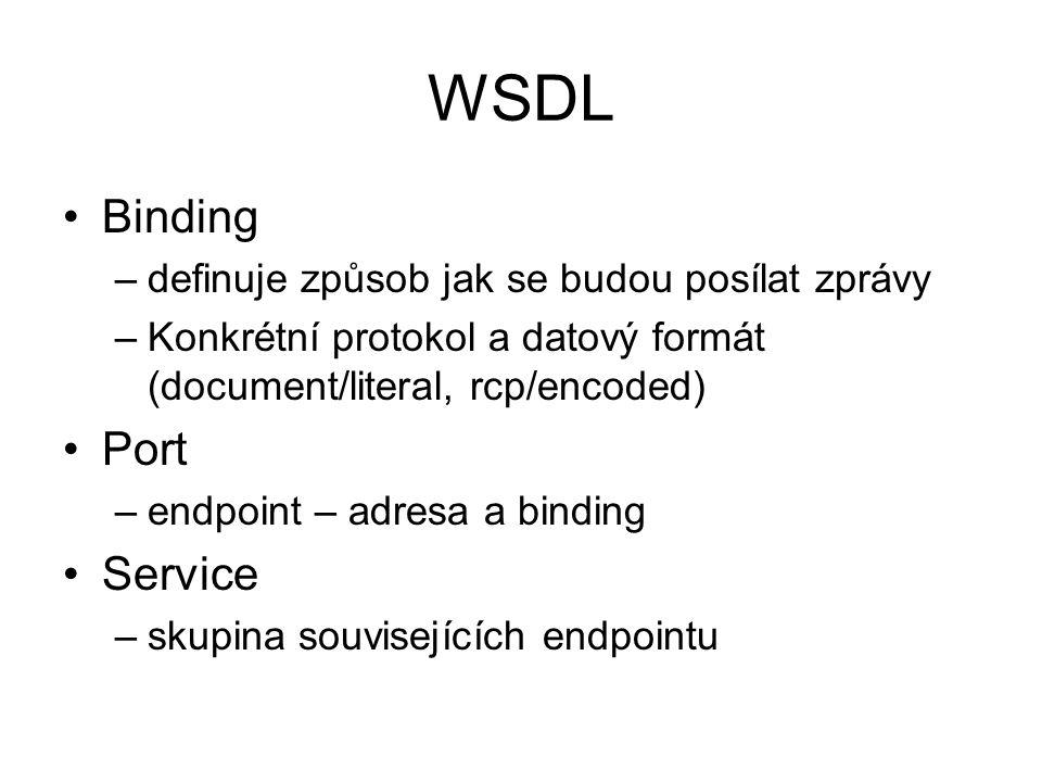 WSDL Binding Port Service definuje způsob jak se budou posílat zprávy