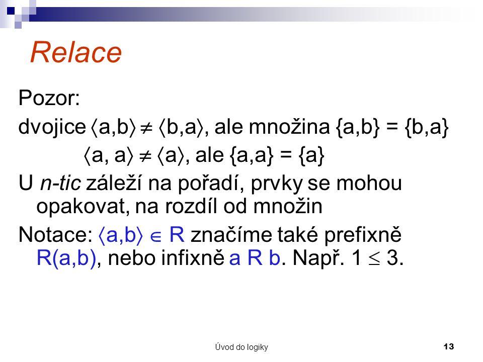 Relace Pozor: dvojice a,b  b,a, ale množina {a,b} = {b,a}