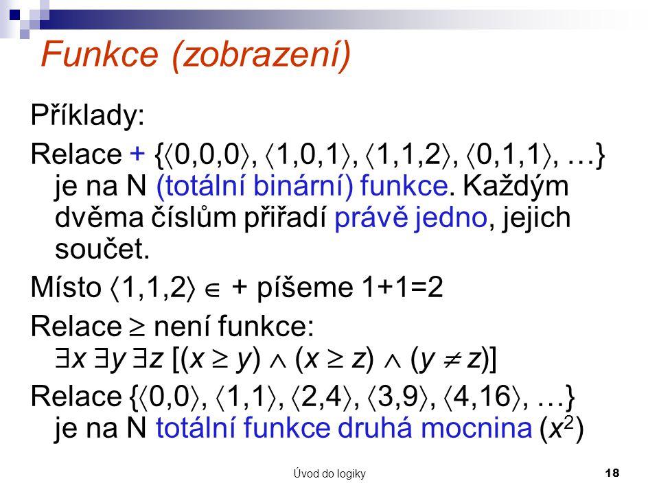 Funkce (zobrazení) Příklady:
