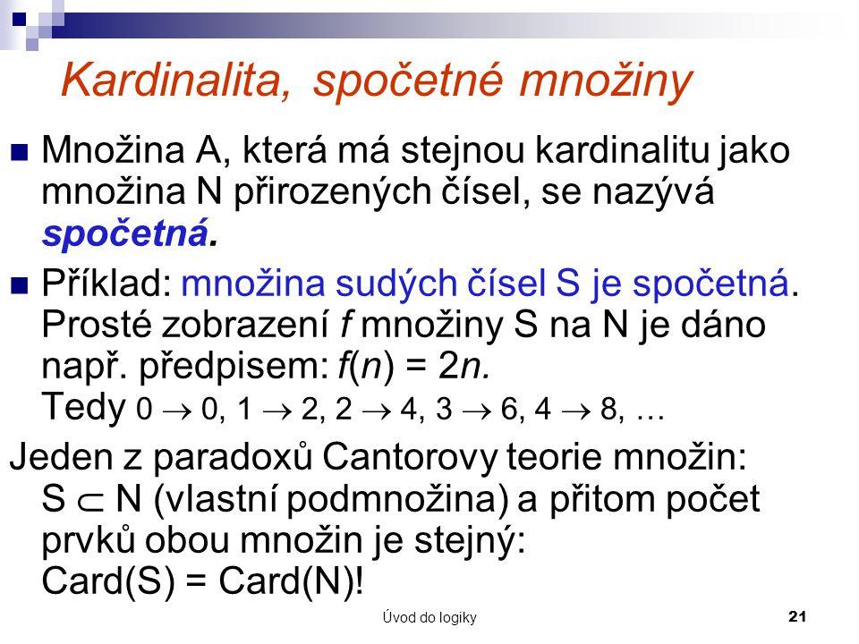 Kardinalita, spočetné množiny