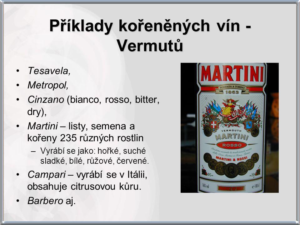 Příklady kořeněných vín - Vermutů