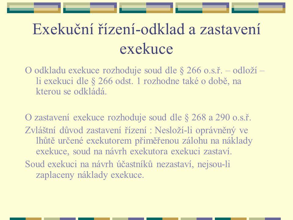 Exekuční řízení-odklad a zastavení exekuce
