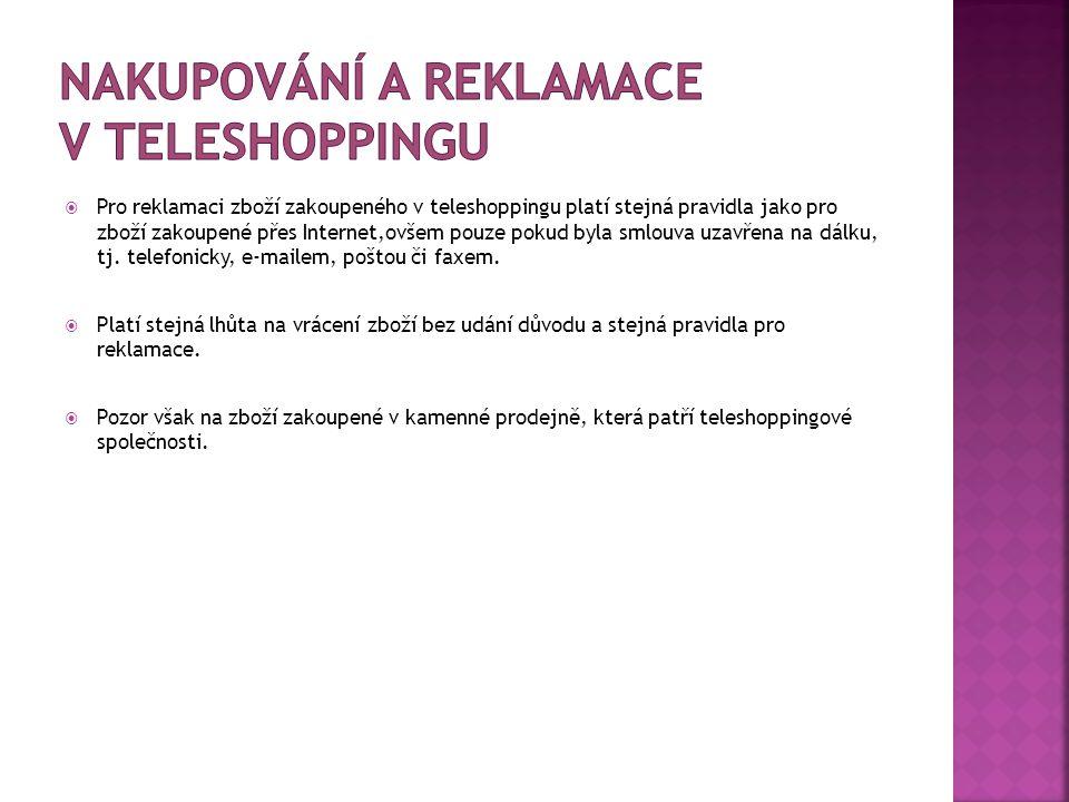 Nakupování a reklamace v teleshoppingu