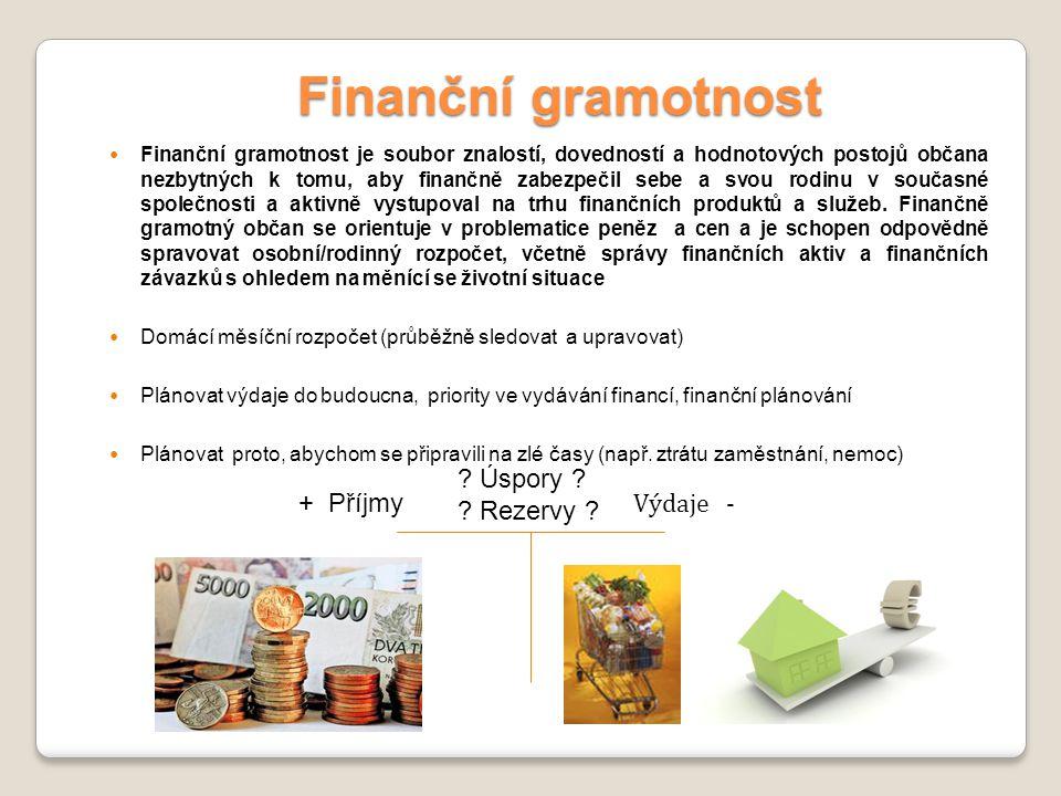 Finanční gramotnost Úspory Rezervy + Příjmy Výdaje -