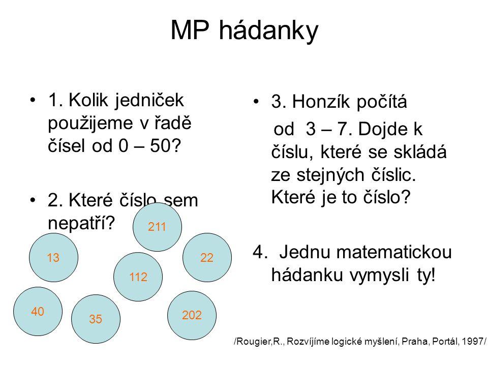 MP hádanky 1. Kolik jedniček použijeme v řadě čísel od 0 – 50
