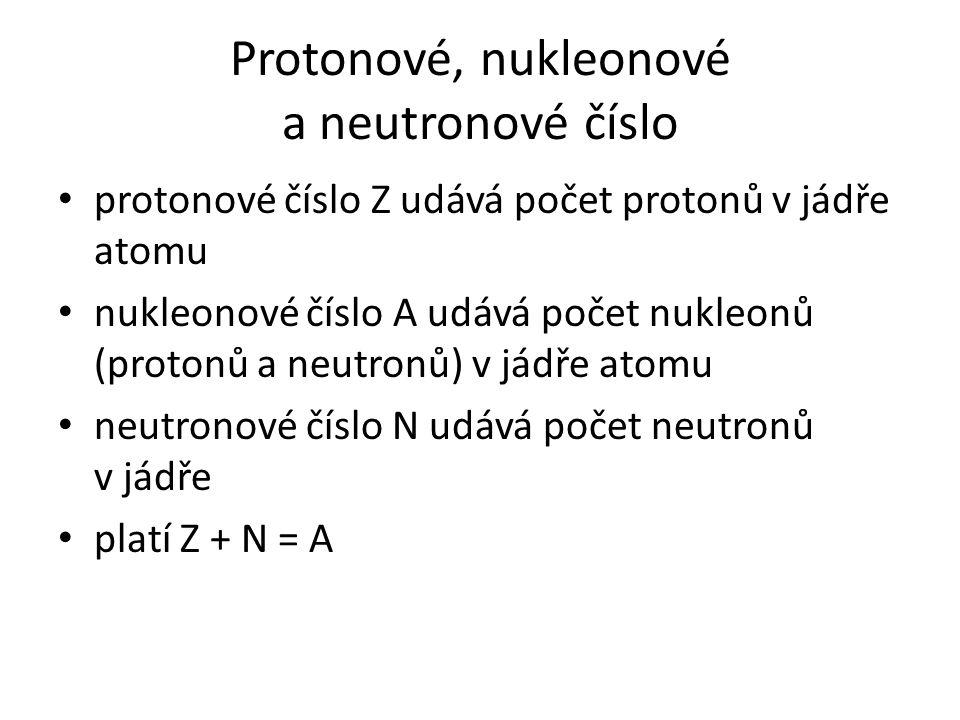 Protonové, nukleonové a neutronové číslo