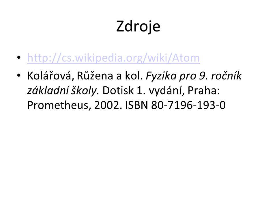 Zdroje http://cs.wikipedia.org/wiki/Atom