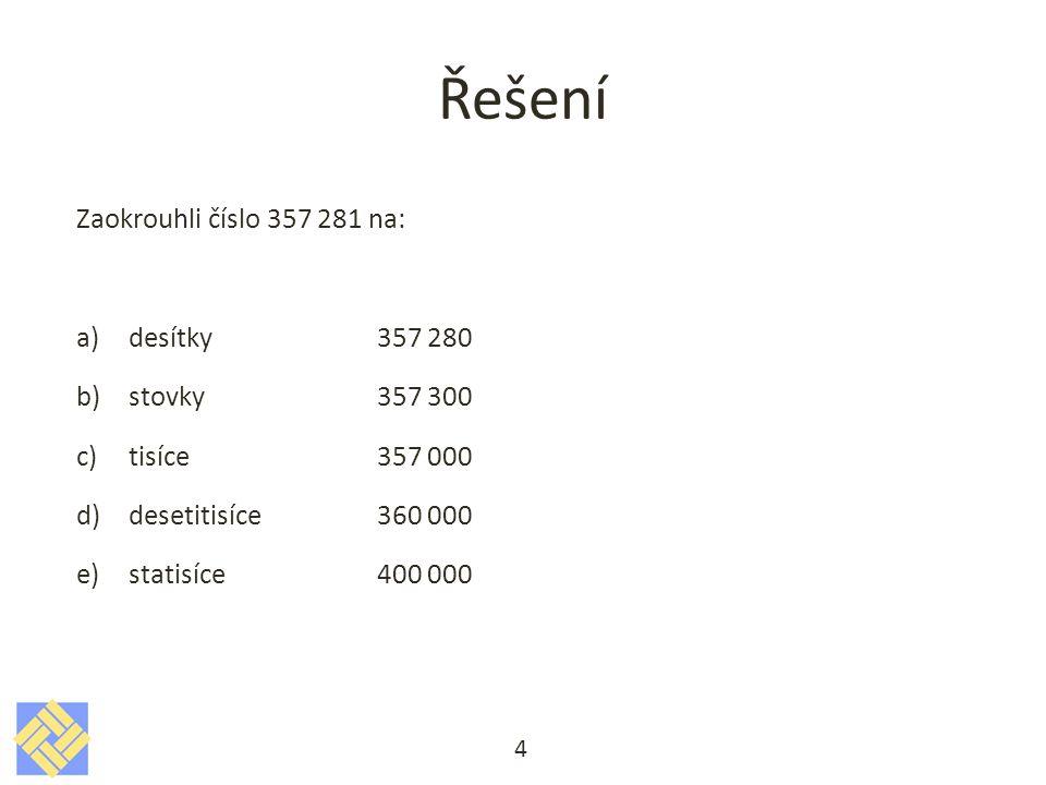Řešení Zaokrouhli číslo 357 281 na: desítky 357 280 stovky 357 300