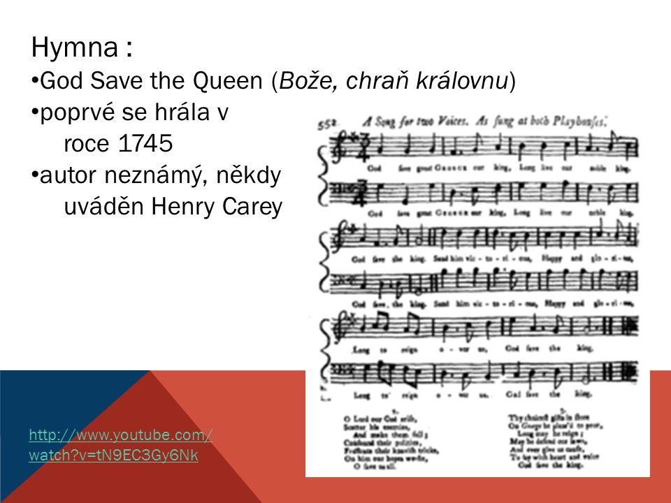 Hymna : God Save the Queen (Bože, chraň královnu) poprvé se hrála v
