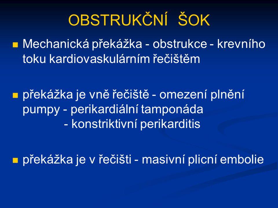 OBSTRUKČNÍ ŠOK Mechanická překážka - obstrukce - krevního toku kardiovaskulárním řečištěm.