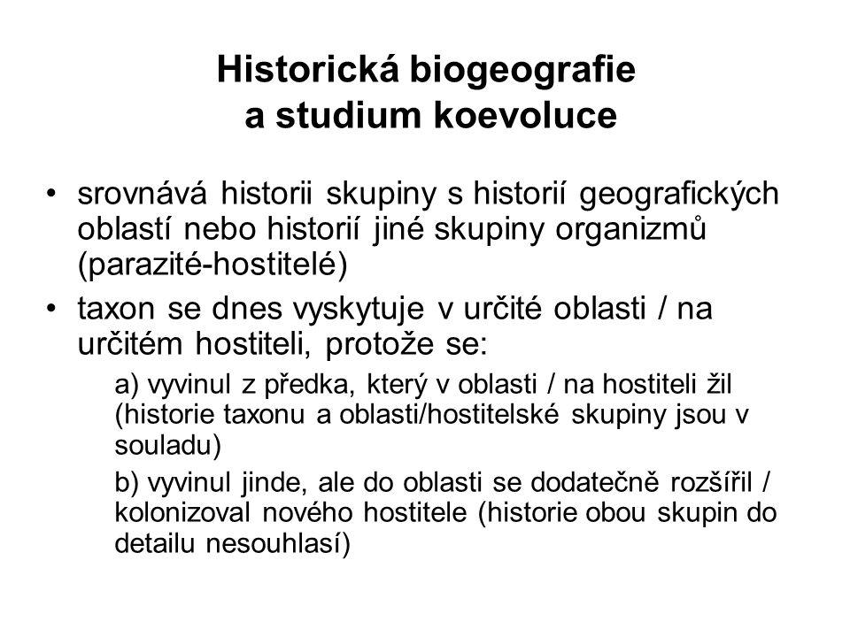 Historická biogeografie a studium koevoluce