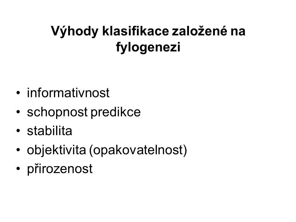 Výhody klasifikace založené na fylogenezi