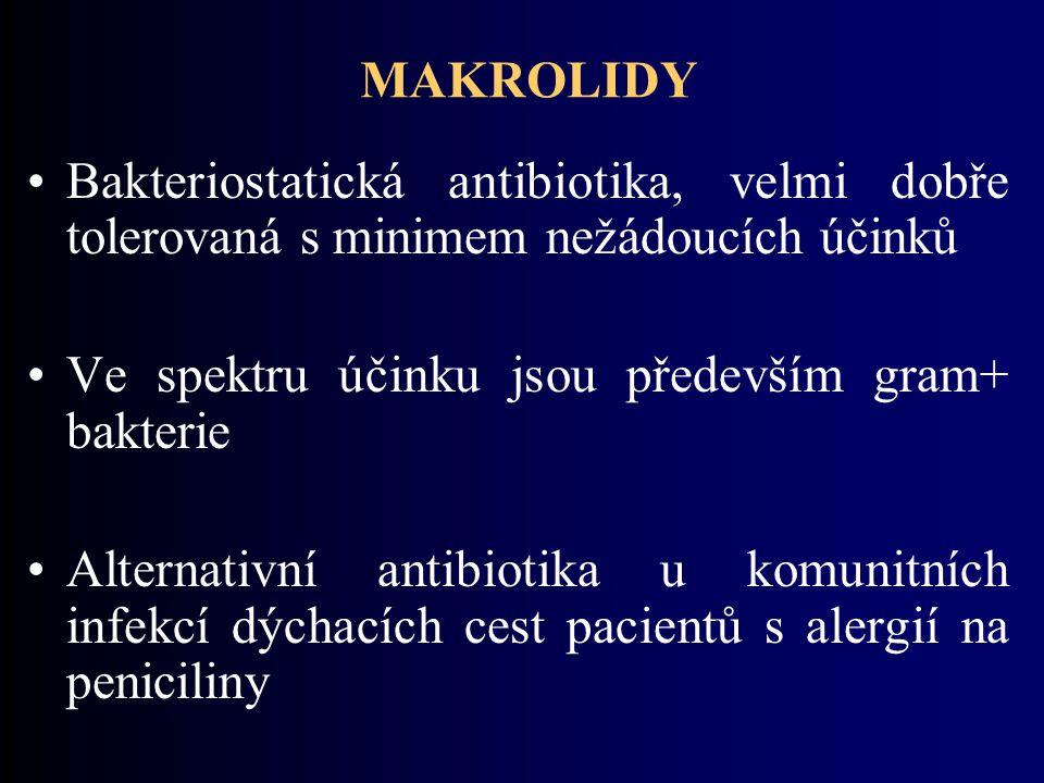 MAKROLIDY Bakteriostatická antibiotika, velmi dobře tolerovaná s minimem nežádoucích účinků. Ve spektru účinku jsou především gram+ bakterie.