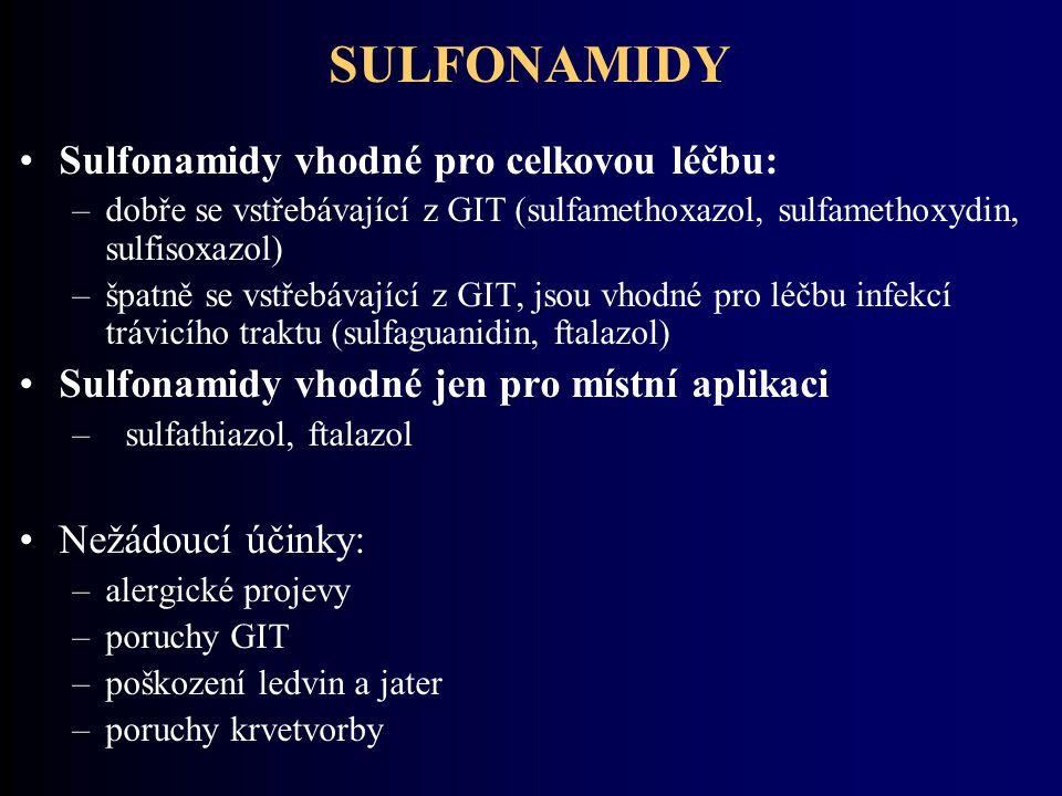 SULFONAMIDY Sulfonamidy vhodné pro celkovou léčbu:
