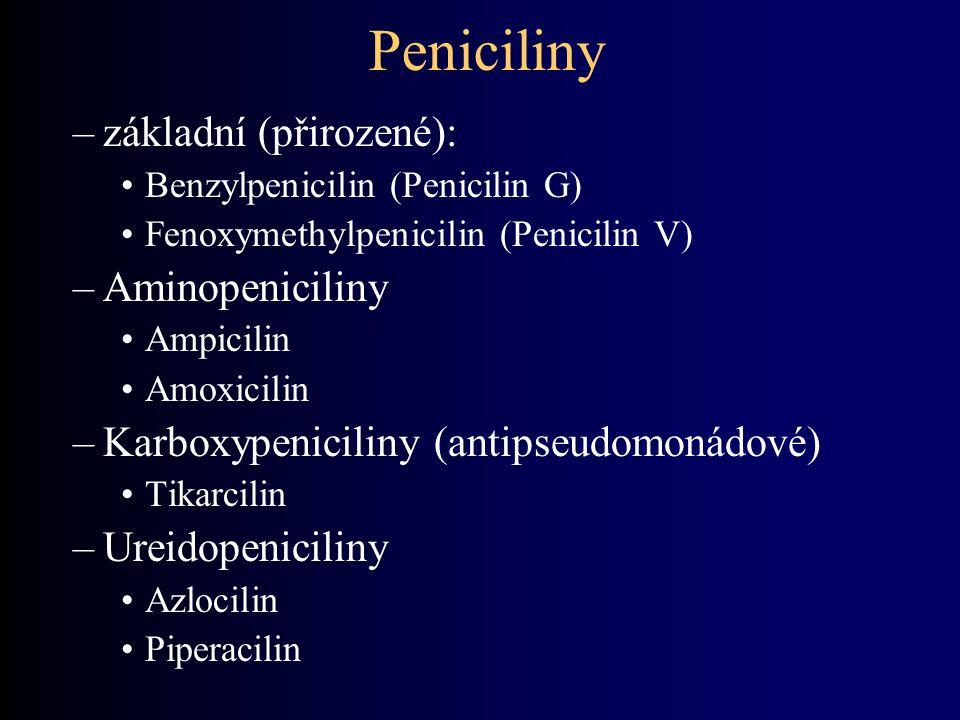 Peniciliny základní (přirozené): Aminopeniciliny