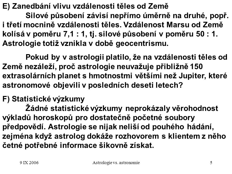 Astrologie vs. astronomie