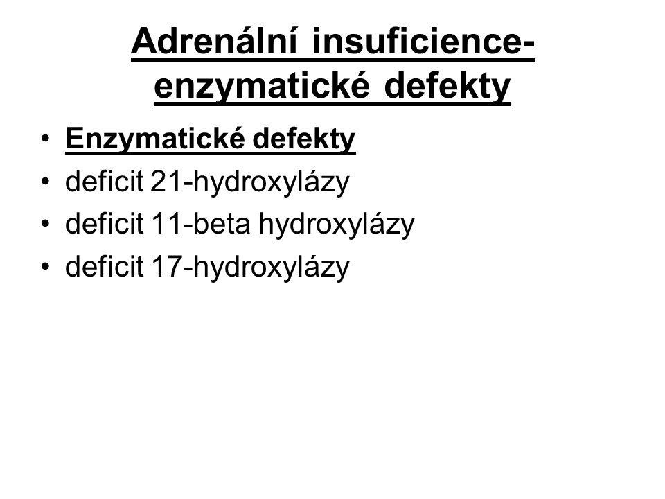 Adrenální insuficience- enzymatické defekty