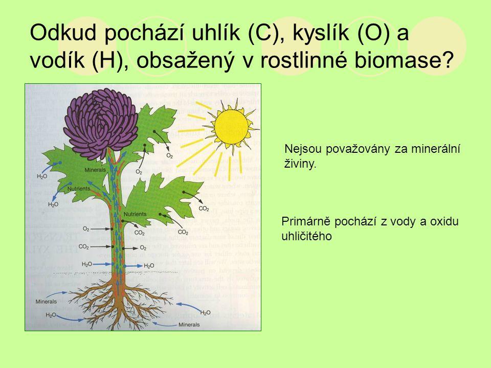 Odkud pochází uhlík (C), kyslík (O) a vodík (H), obsažený v rostlinné biomase