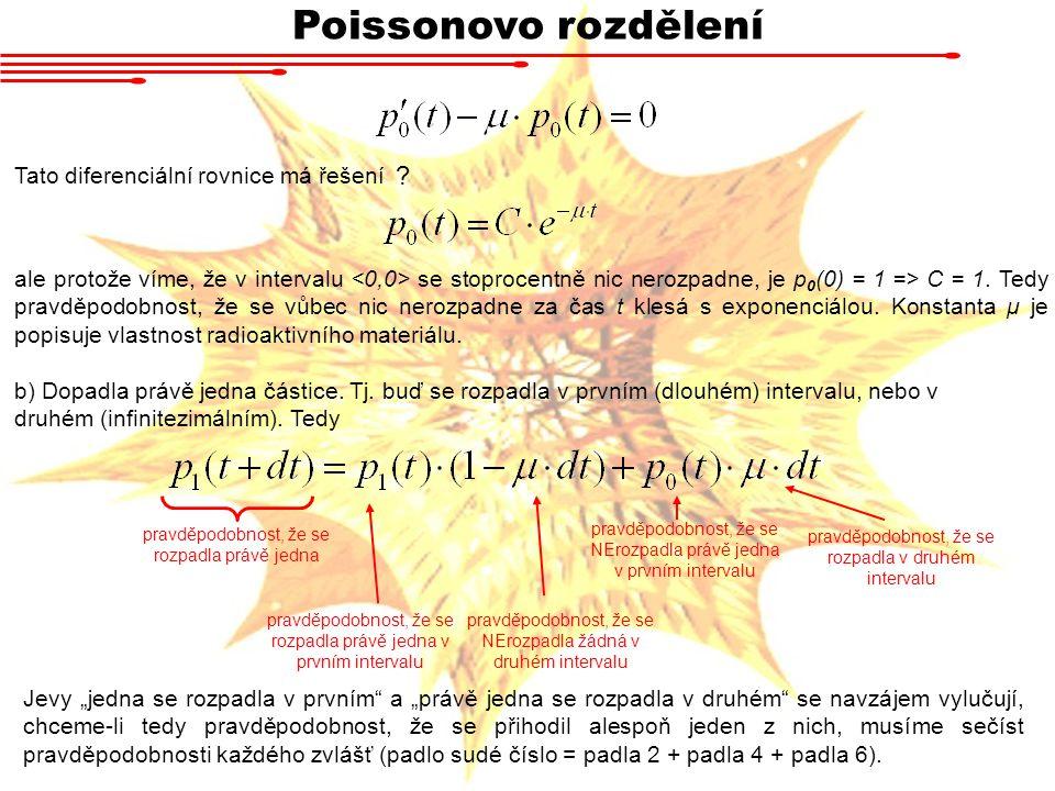 Poissonovo rozdělení Tato diferenciální rovnice má řešení