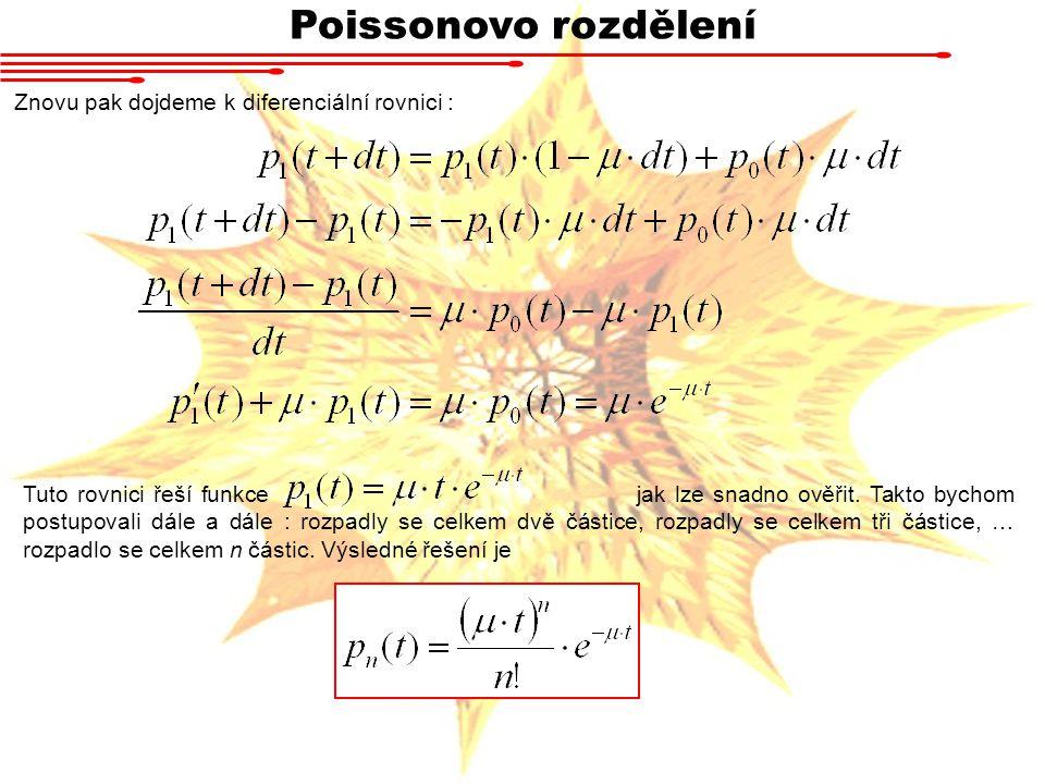 Poissonovo rozdělení Znovu pak dojdeme k diferenciální rovnici :