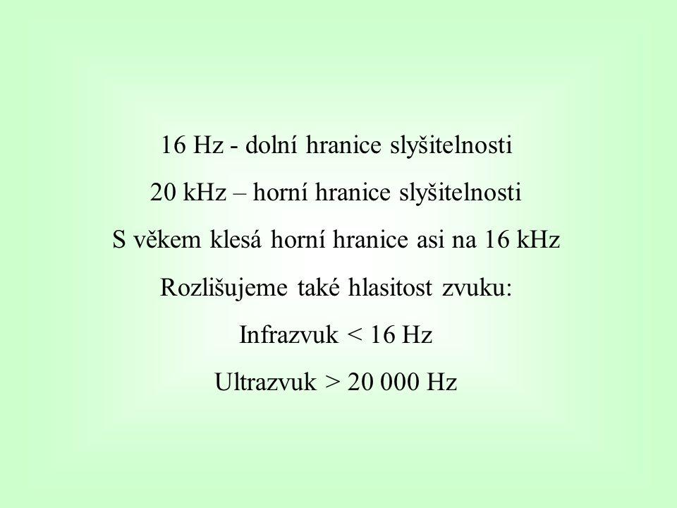 16 Hz - dolní hranice slyšitelnosti