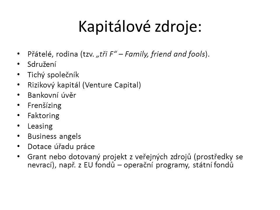 """Kapitálové zdroje: Přátelé, rodina (tzv. """"tři F – Family, friend and fools). Sdružení. Tichý společník."""