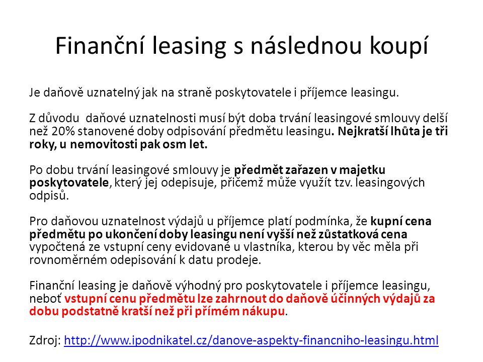 Finanční leasing s následnou koupí